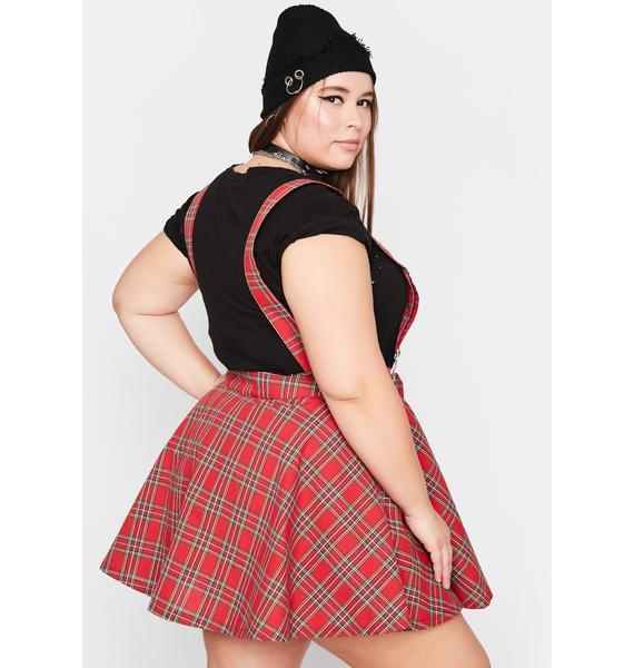 Crimson Always Class Act Suspender Skirt