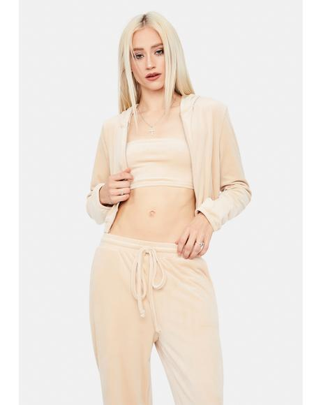 Beige Chill Times Tube Top Velour Jacket Set