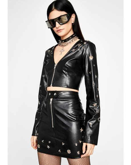 Star Matrix Vegan Leather Top