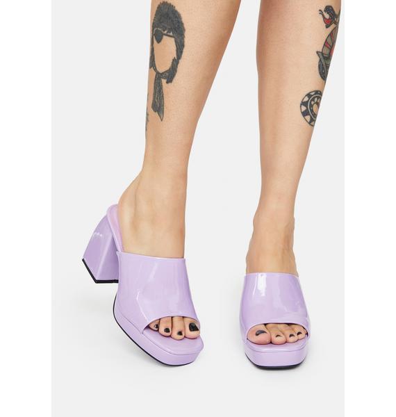 Public Desire Lilac Patent Oreo Open Toe Mules