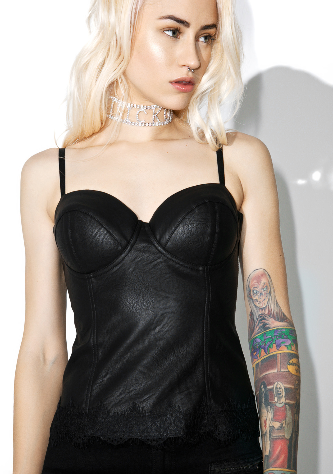 Leather Sexy Moto Bustier Top