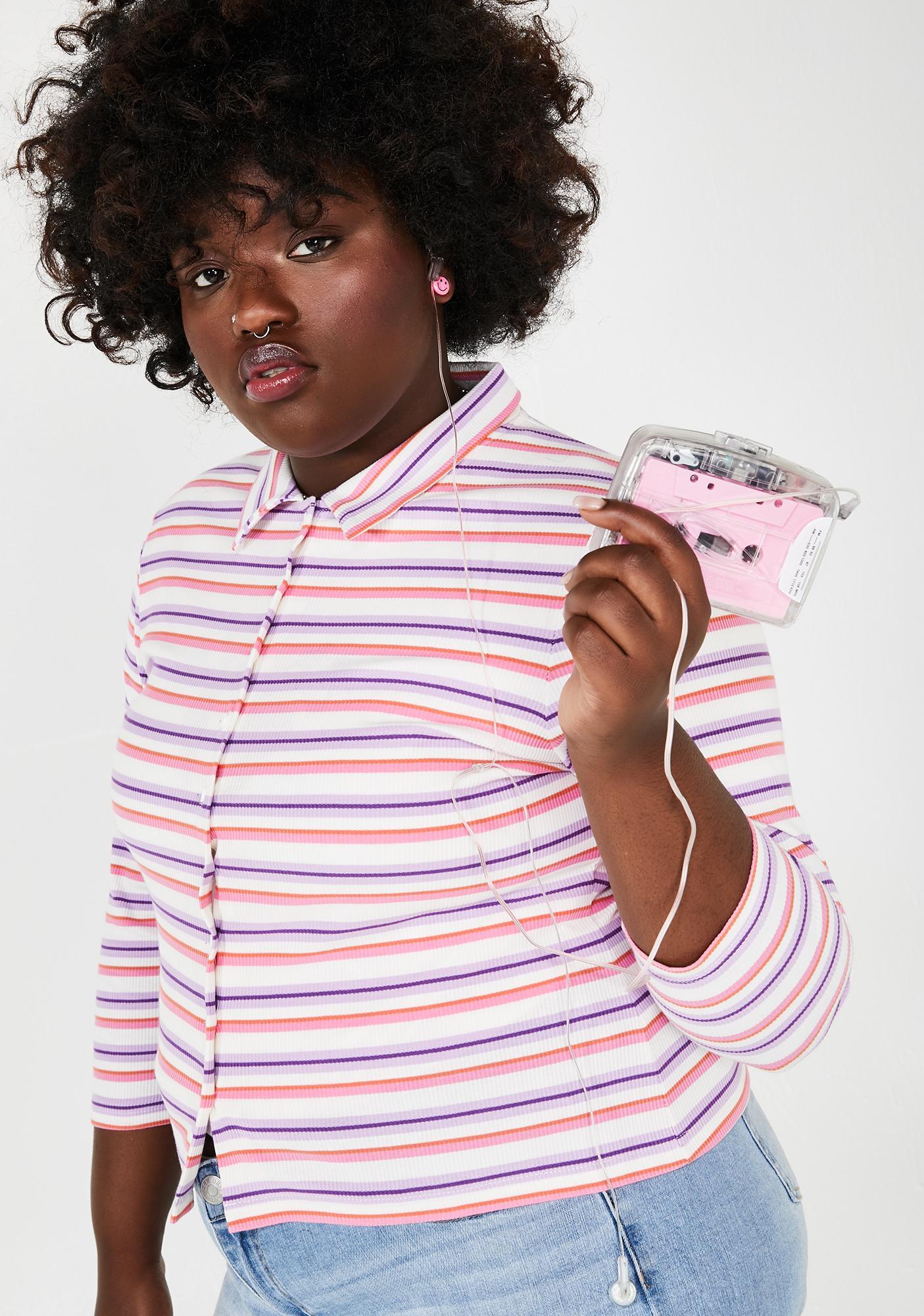 dELiA*s by Dolls Kill Ugh Get A Clue Striped Sweater
