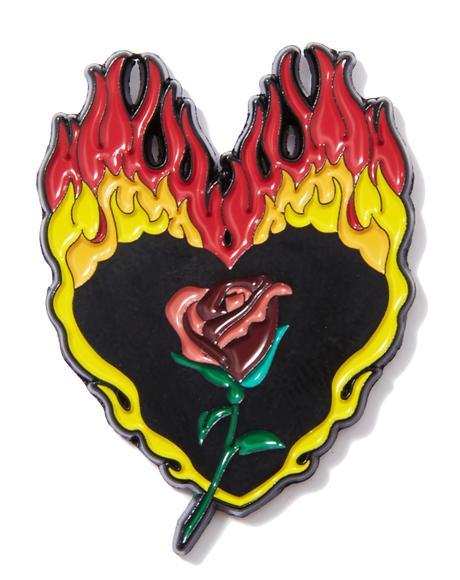 Flaming Rose Pin