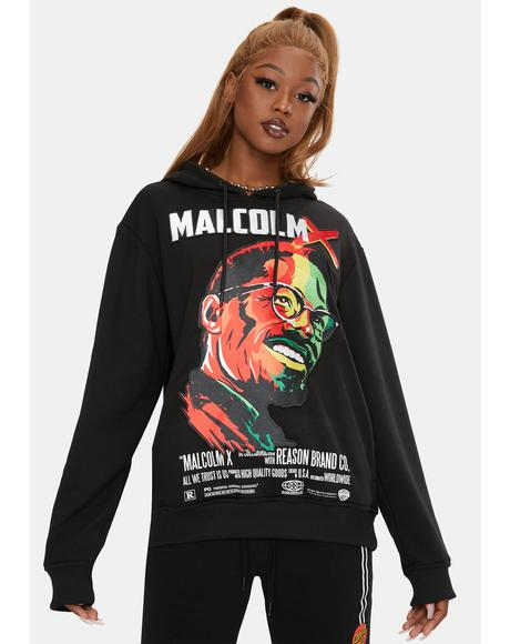 Malcolm X Embroidered Portrait Graphic Hoodie