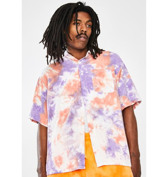 Used Future Tie Dye Button Up Shirt
