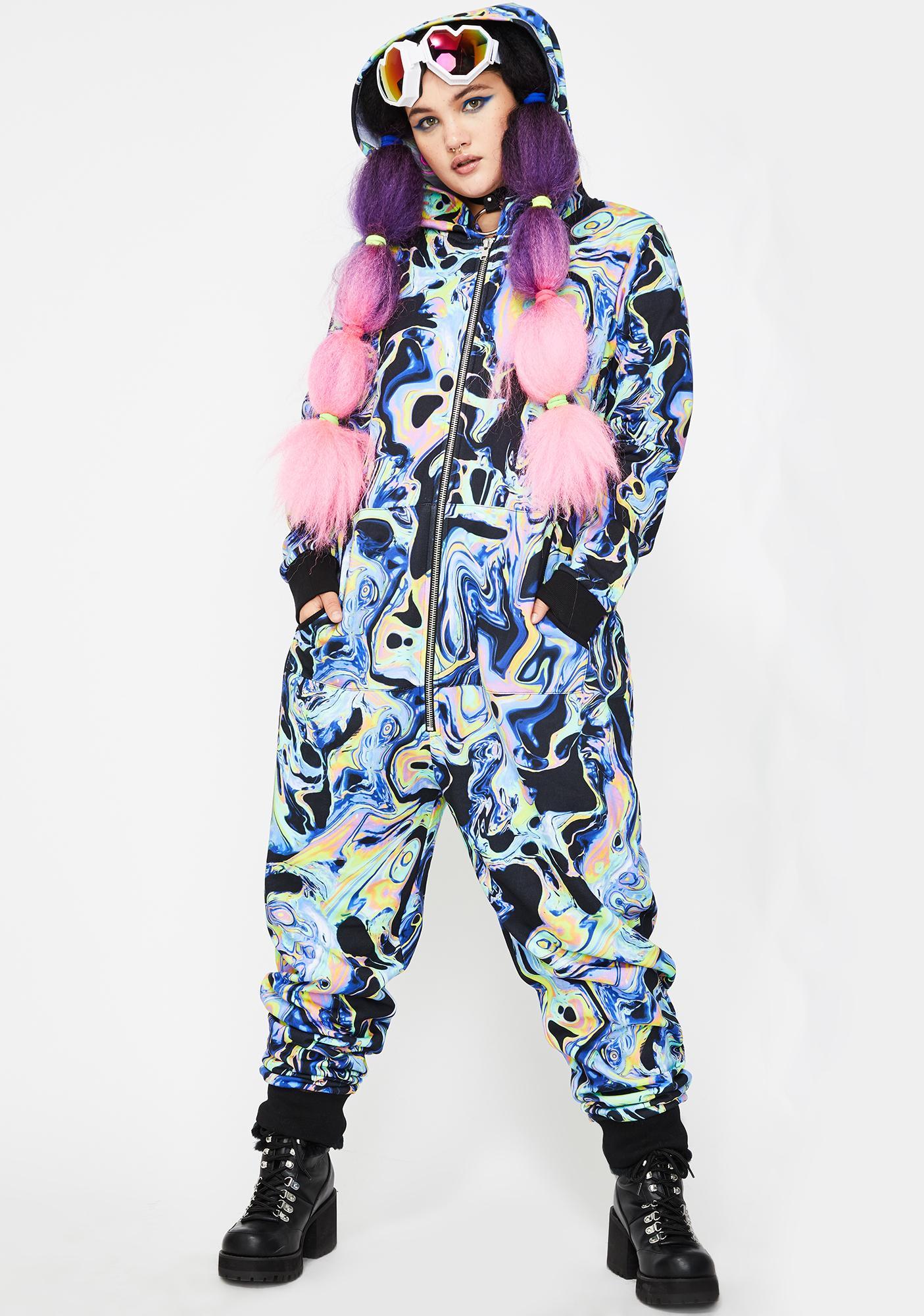 Club Exx Swirly Acid Dimension Hooded Onesie