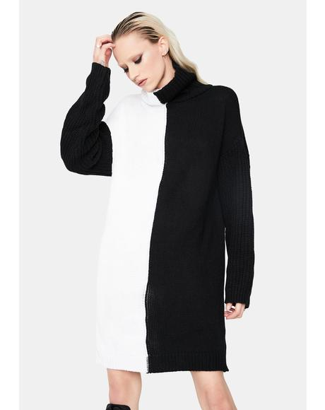 Double Take Turtleneck Sweater Dress