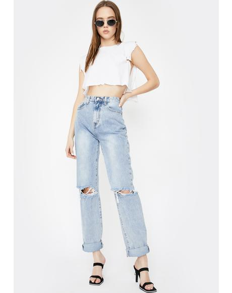 Mid Wash Extra Long Straight Leg Jeans