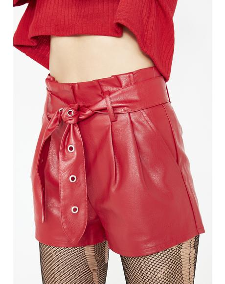 Fiery Flame Belted Shorts