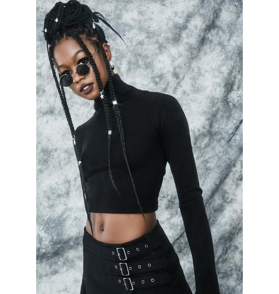 dELiA*s by Dolls Kill She's The Darkness Knit Turtleneck