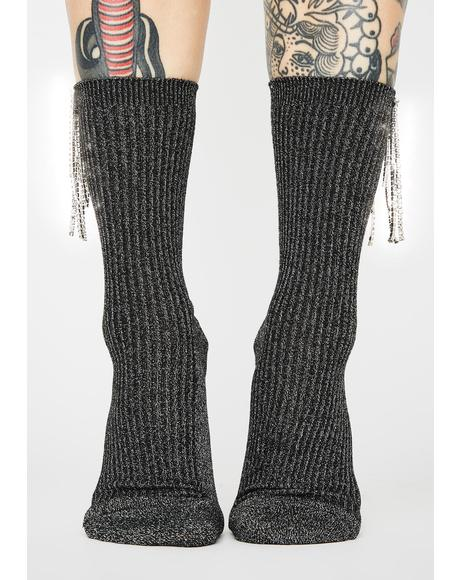 Regal Dazzle Rhinestone Fringe Socks