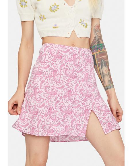 Kiss Discovering Why Paisley A-Line Skirt