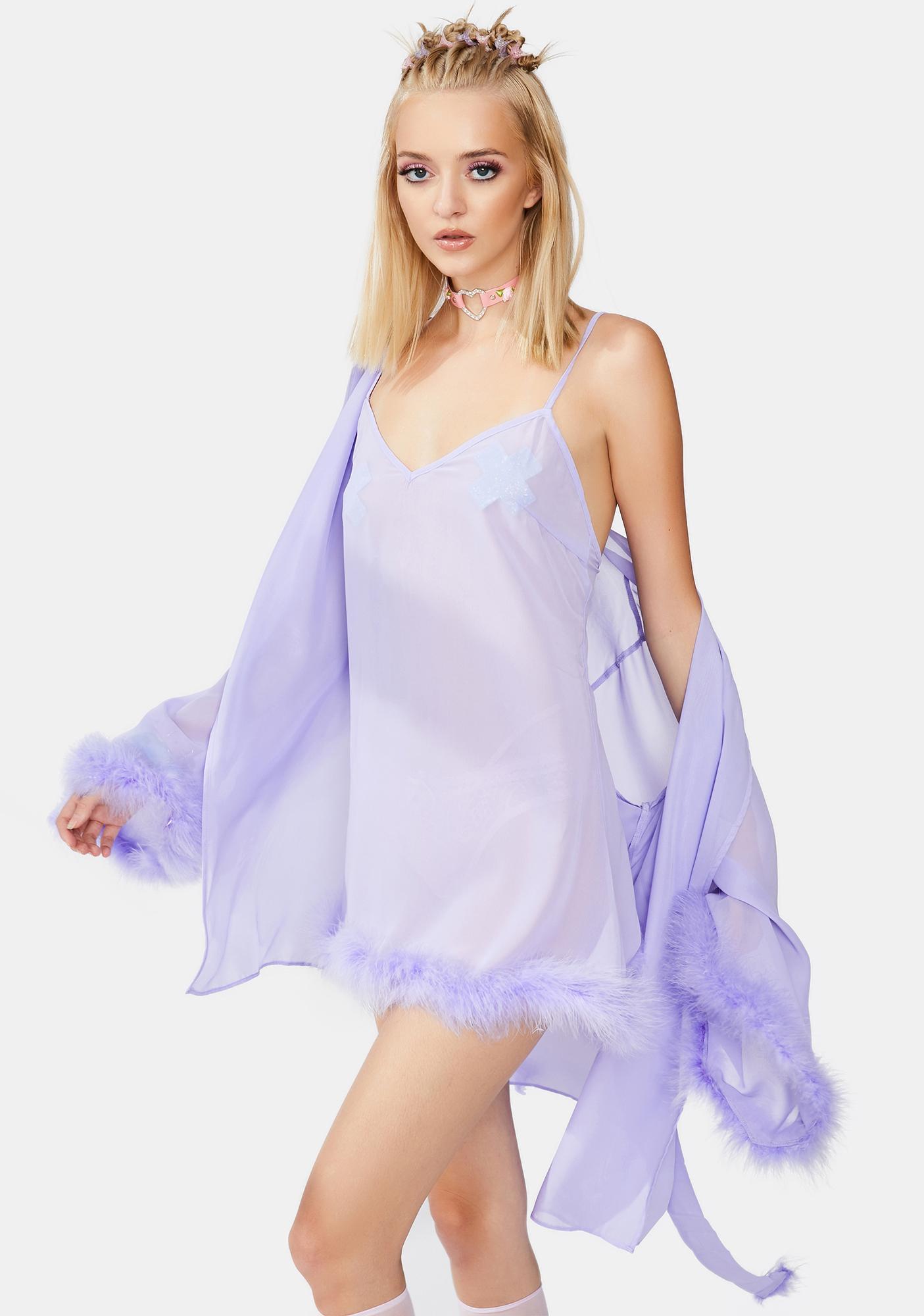Playful Promises X Betty Page Lilac Chiffon Feather Babydoll Chemise