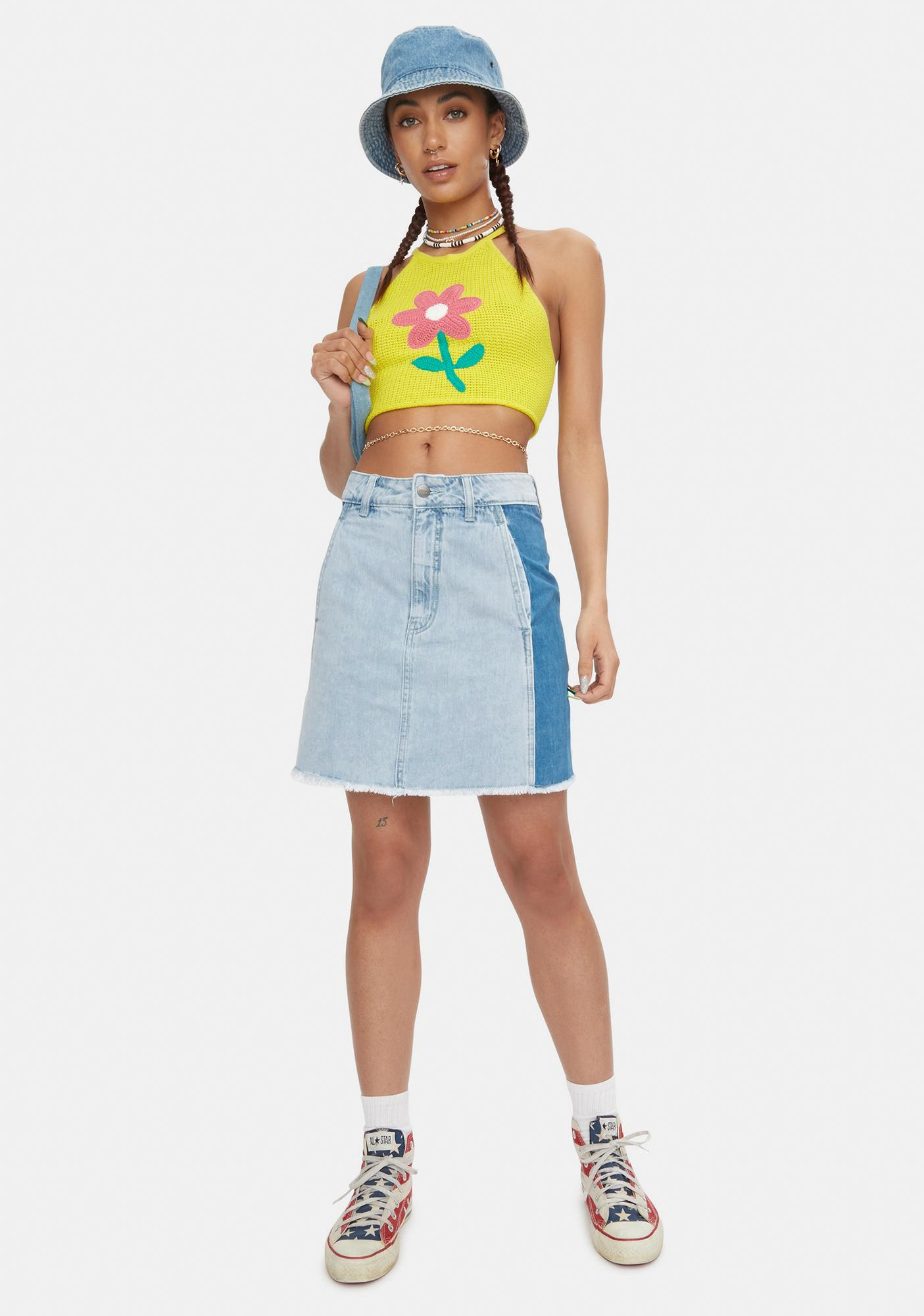 Afends Stevie Hemp Denim Panelled Skirt