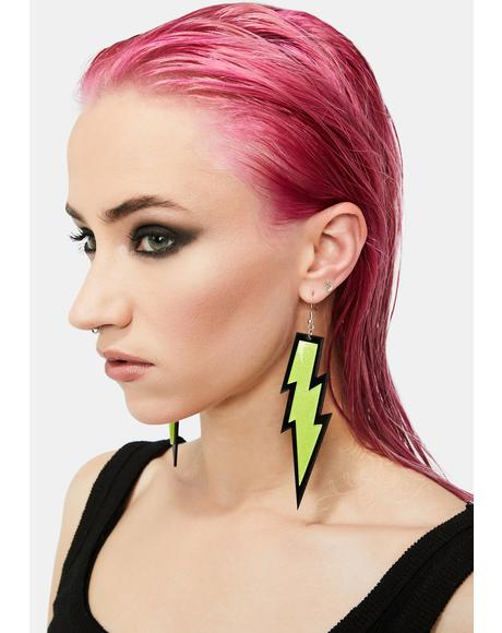 Neon Jolt Lightning Bolt Earrings