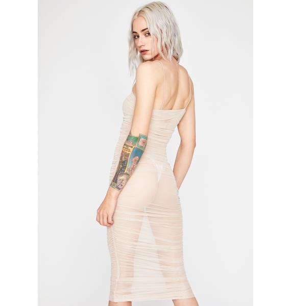 Nude Fire Desire Mesh Dress