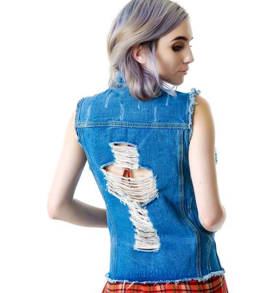 Crossed Out Destroyed Denim Vest