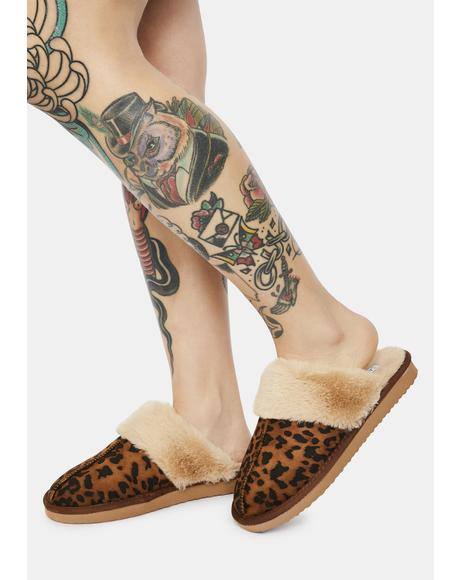 Leopard Cozy Staycation Slippers