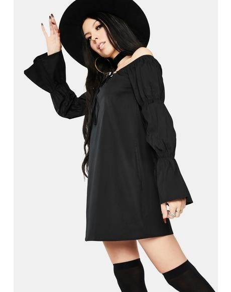 Black Off Shoulder Puff Sleeve Mini Dress