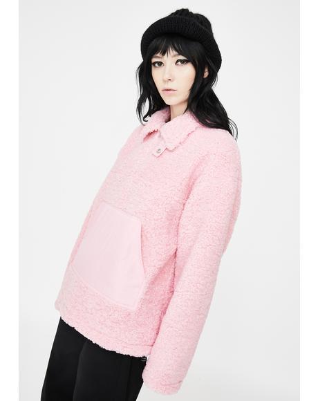 Pink Zipper Sherpa Pullover