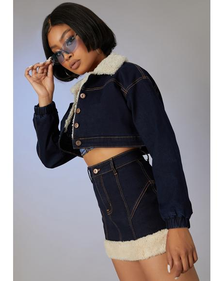 Attention Seeker Denim Puffer Jacket