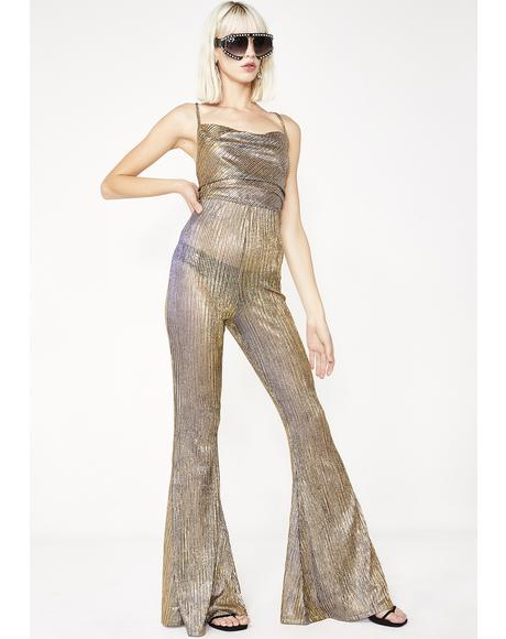 Baby Jane Gold Flare Jumpsuit