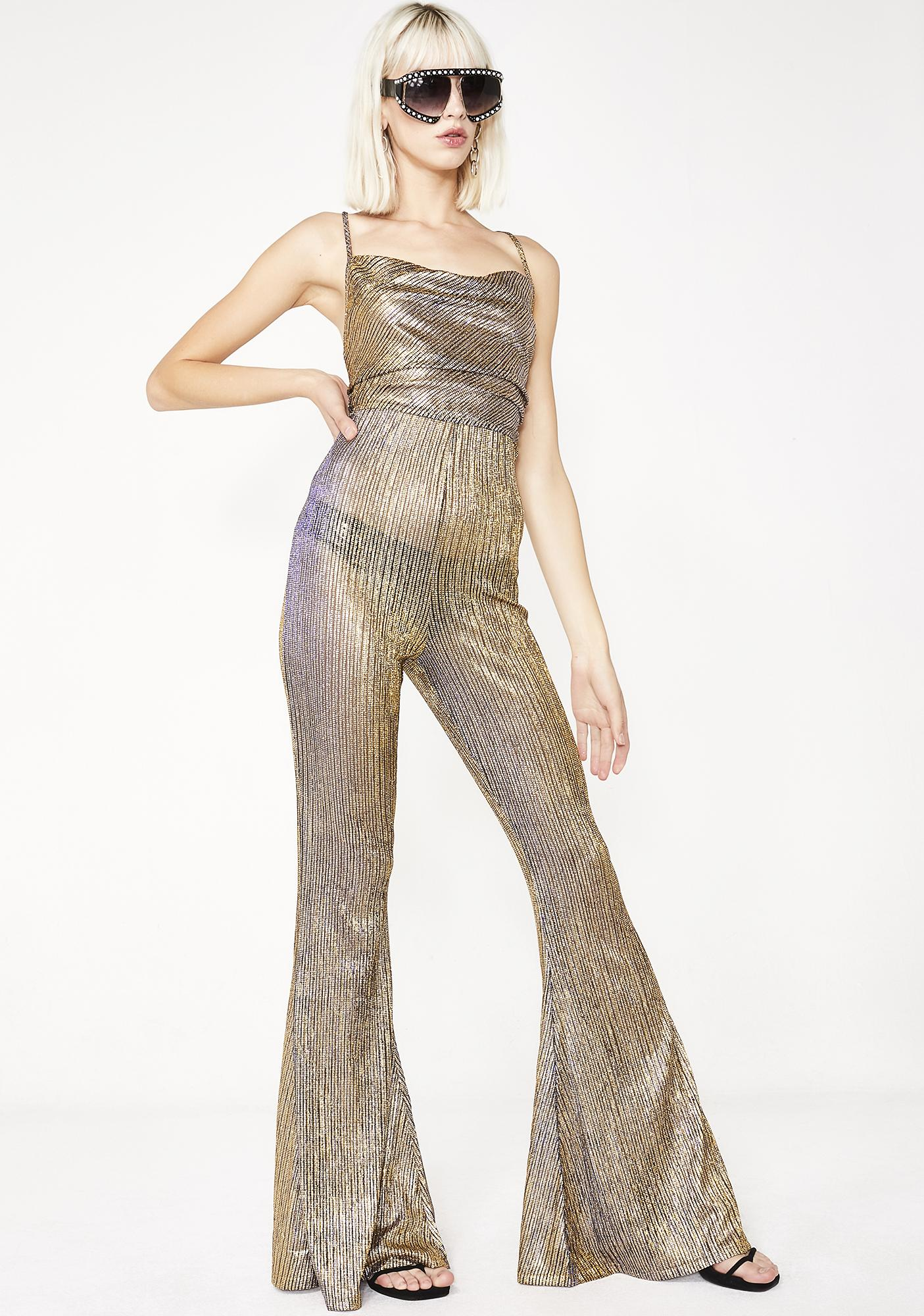 85d5e48ad281 Elsie   Fred Baby Jane Gold Flare Jumpsuit