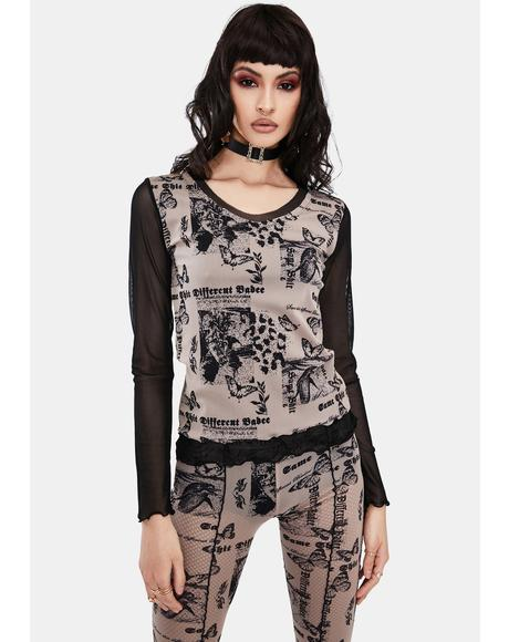 Butterfly Mesh Layered Top
