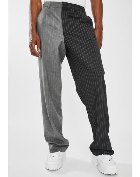 Spliced Grey Pinstripe Loose Fit Trousers
