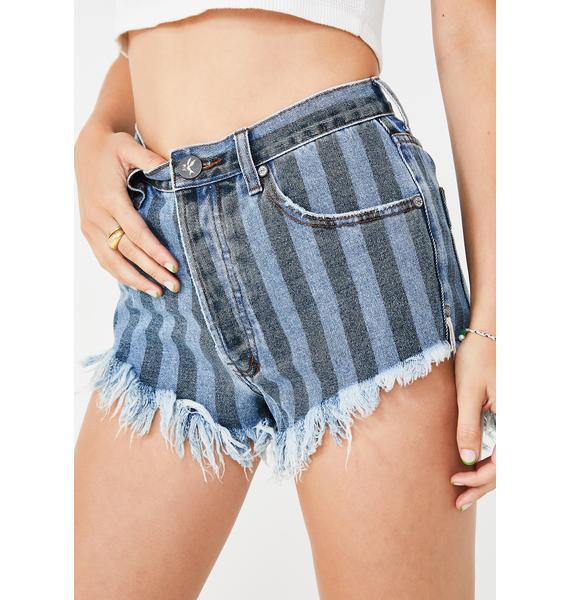 One Teaspoon Outlaws Mid Length Denim Shorts