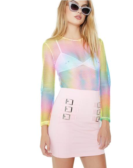 Happy Unbirthday Sheer Tie-Dye Bodysuit