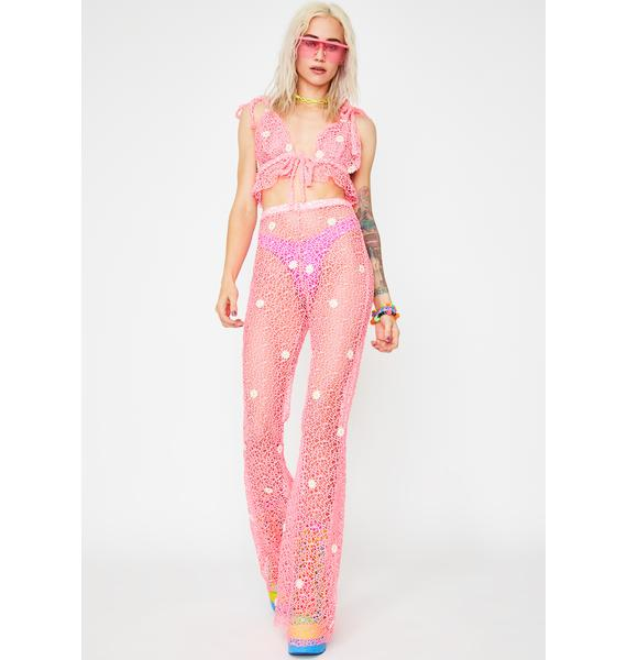 Glitter Kitten Hot Pink Crazy For Daisies Pant Set