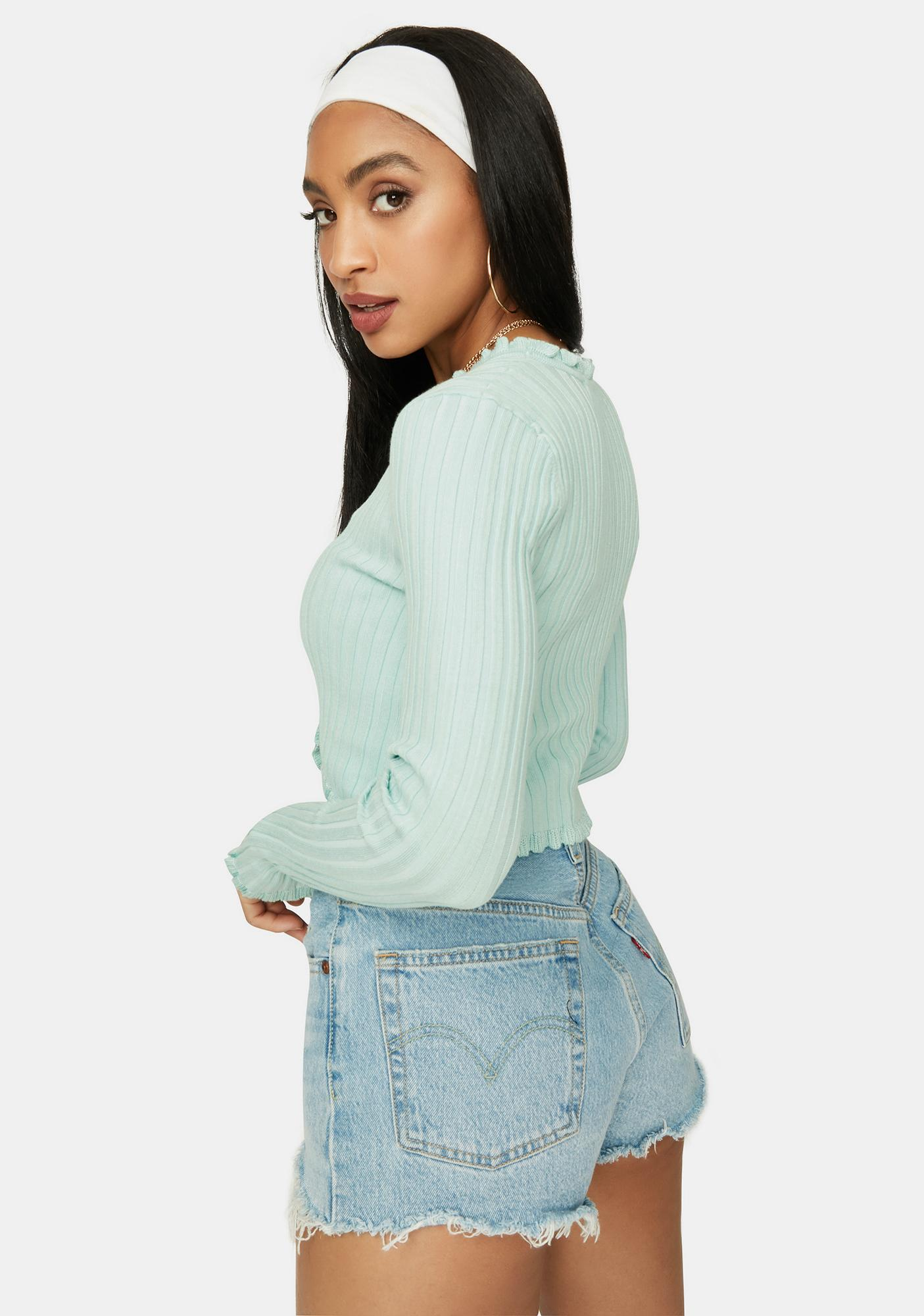 Mint Clique On Speed Dial Cropped Sweater