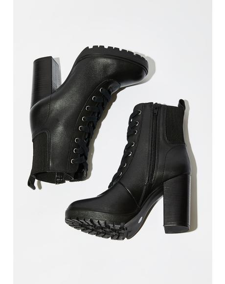 Black Leather Latch Boots
