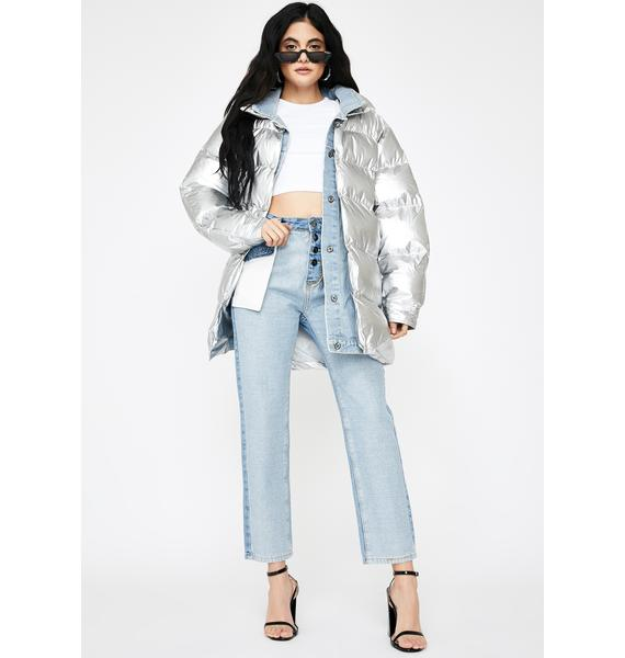 ZEMETA Denim Layer Long Puffer Jacket
