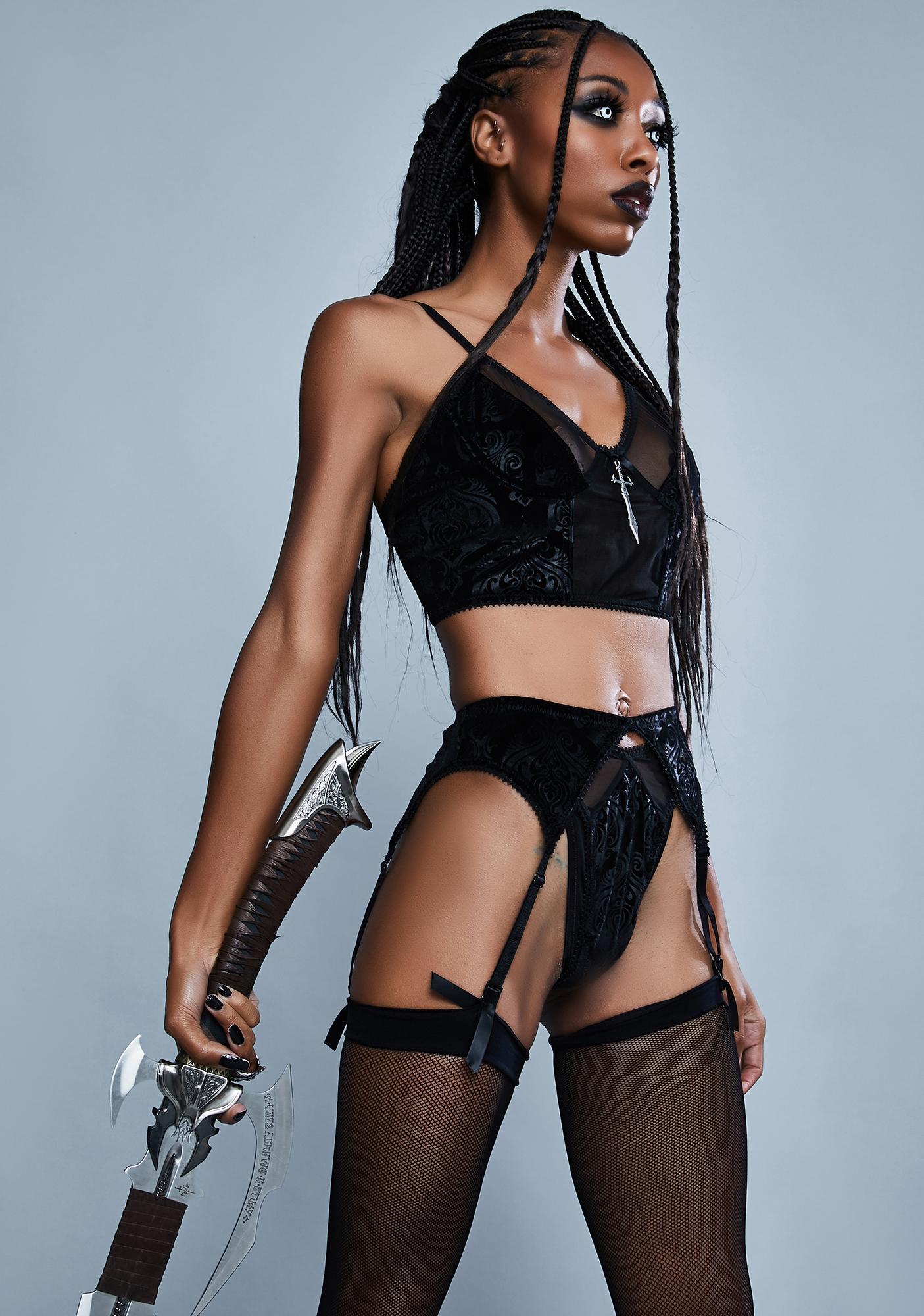 Widow Word Of Honor Velvet Thong And Garter Set