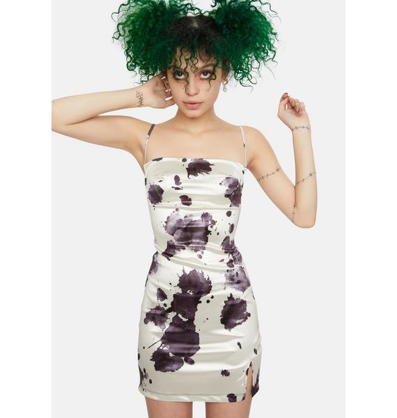 Motel Ink Stain Satin Spandex Betta Mini Dress