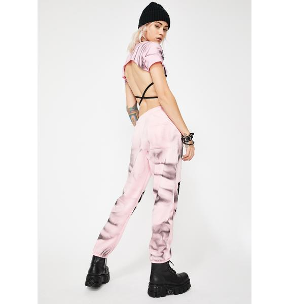 Shay Kawaii Pink Tie Dye Patch Joggers