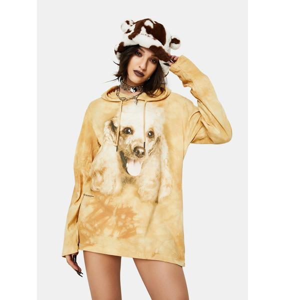 The Mountain Happy Poodle Portrait Hoodie