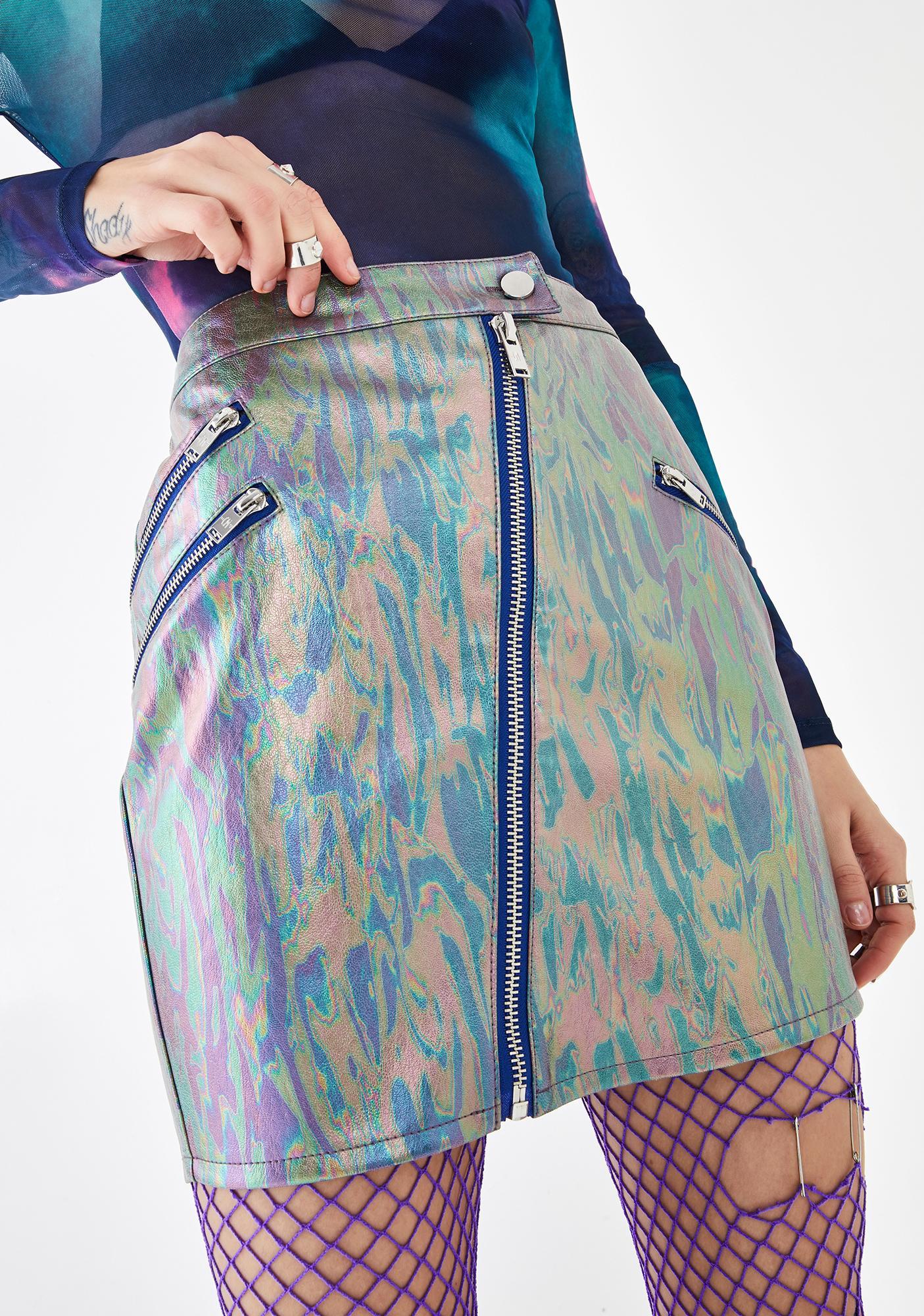 Current Mood Twisted Misfit Malfunction Zipper Skirt