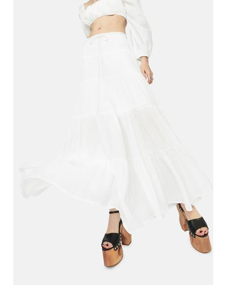 Ivory Take It Easy Smocked Maxi Skirt