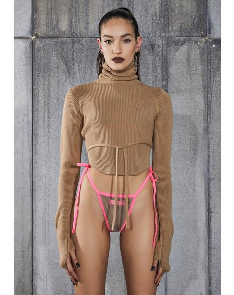 Snare Tan Open Back Turtleneck Crop Sweater