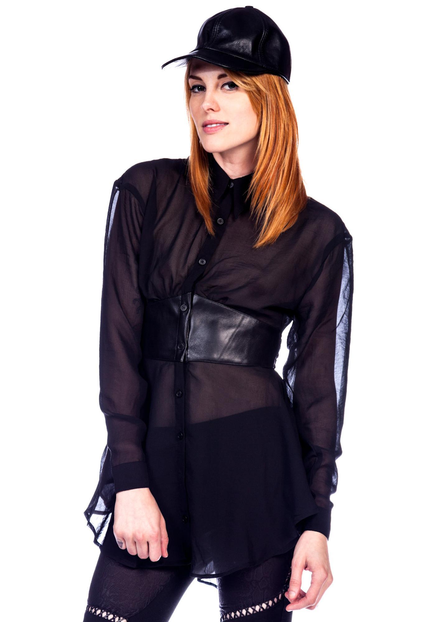 Widow Leather Waist Chiffon Top