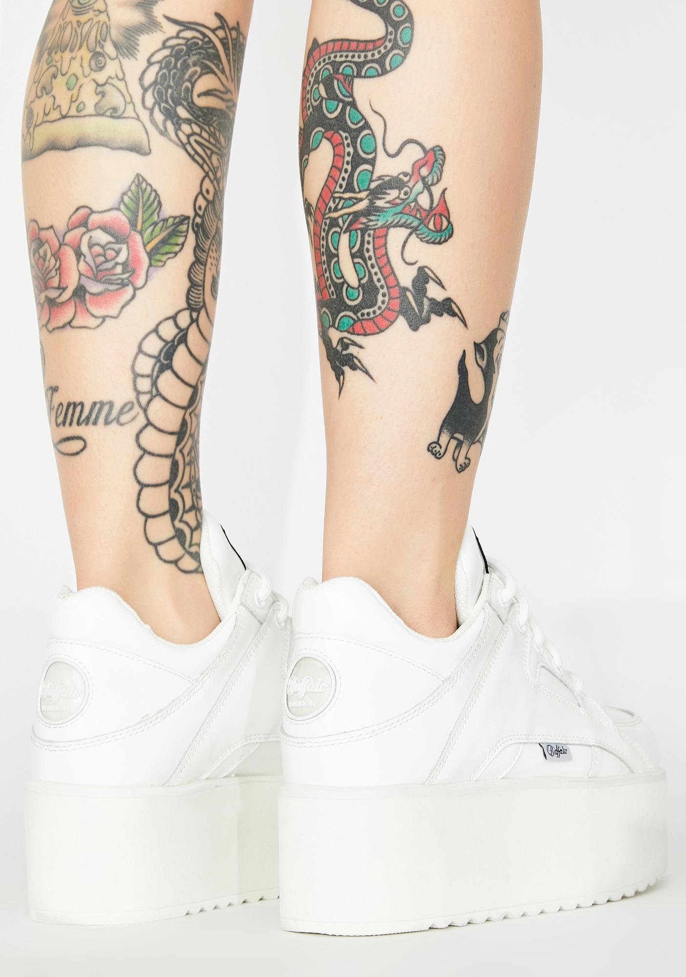 Buffalo London White Rising Towers Patent Sneakers