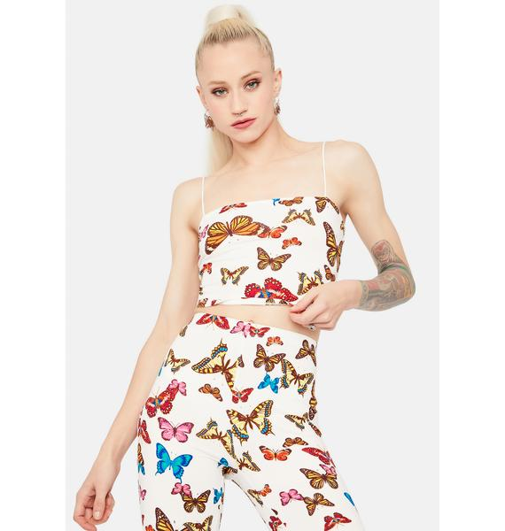 Wings Of Change Butterfly Print Cami Crop Top