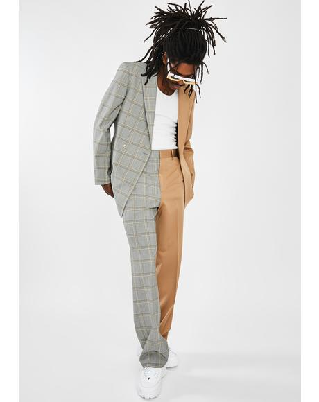 Spliced Check Loose Fit Trousers
