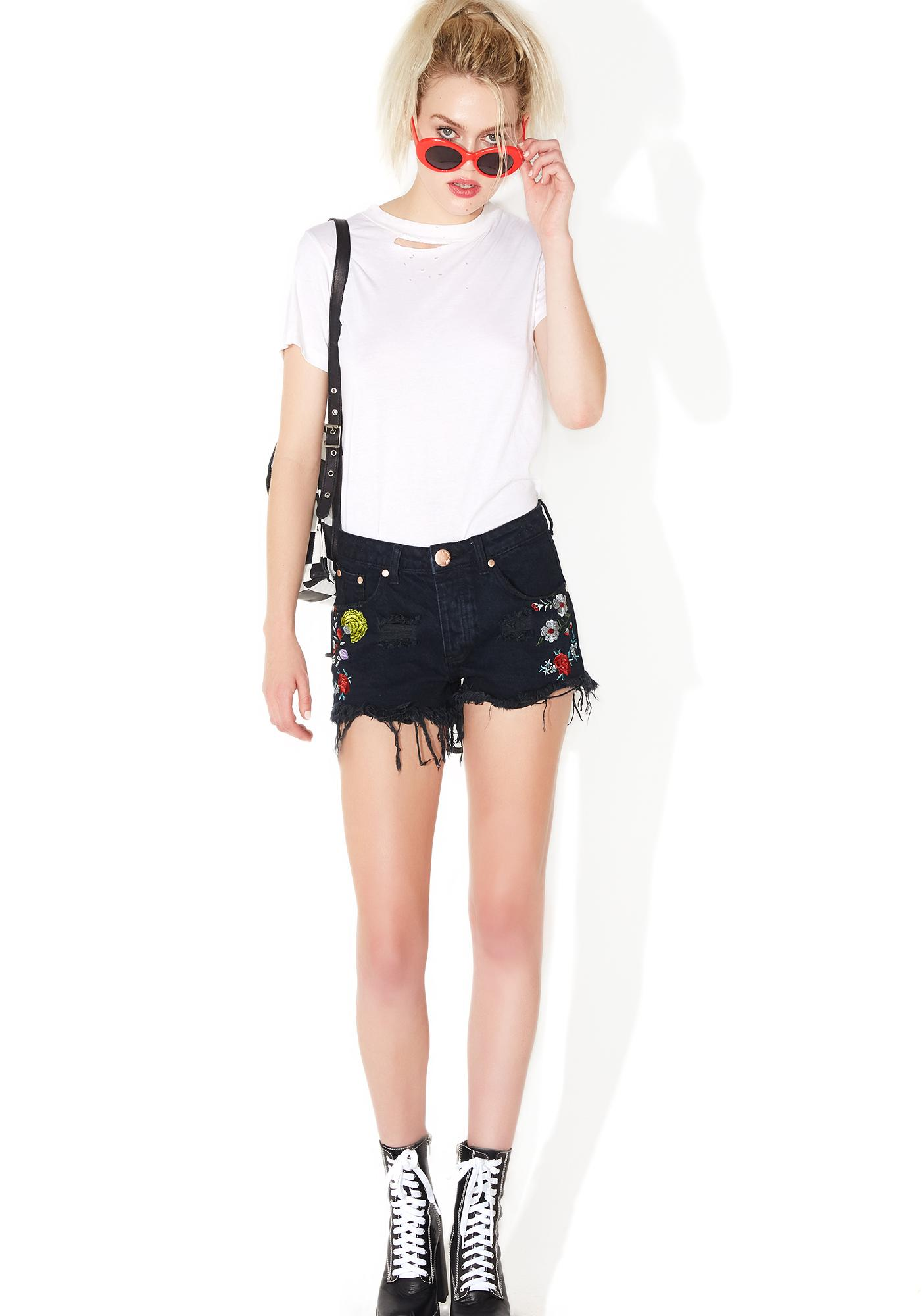 Bundle Of Blooms Embroidered Shorts