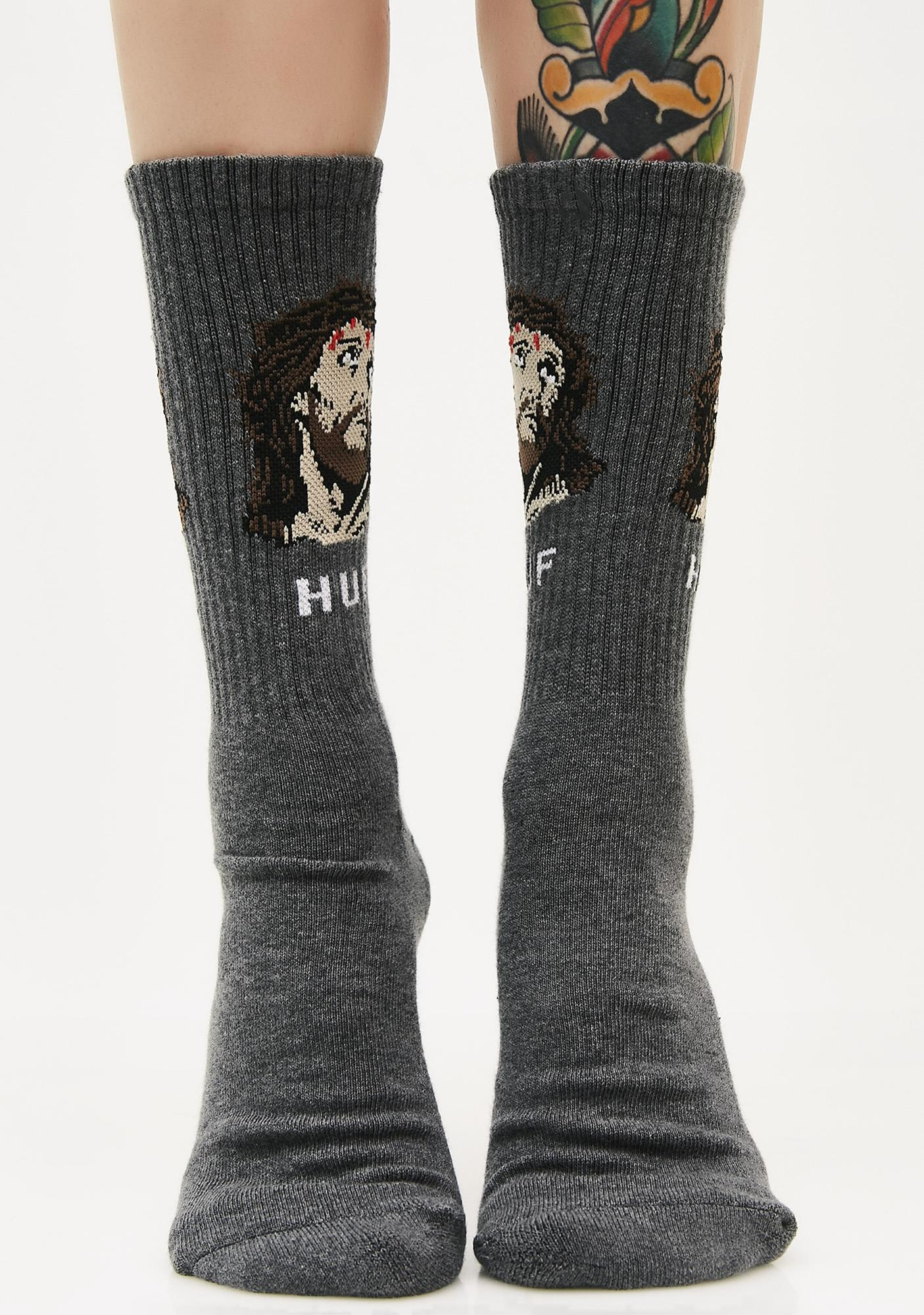 HUF Charcoal December Dudes Series Socks