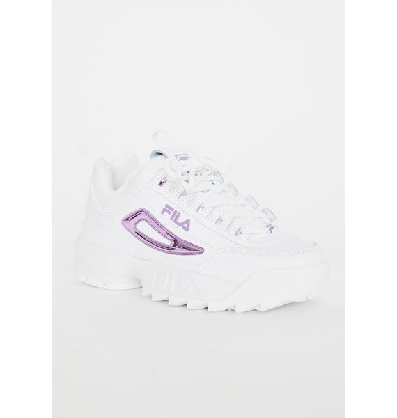 Fila Lavender Disruptor 2 Metallic Accent Sneakers