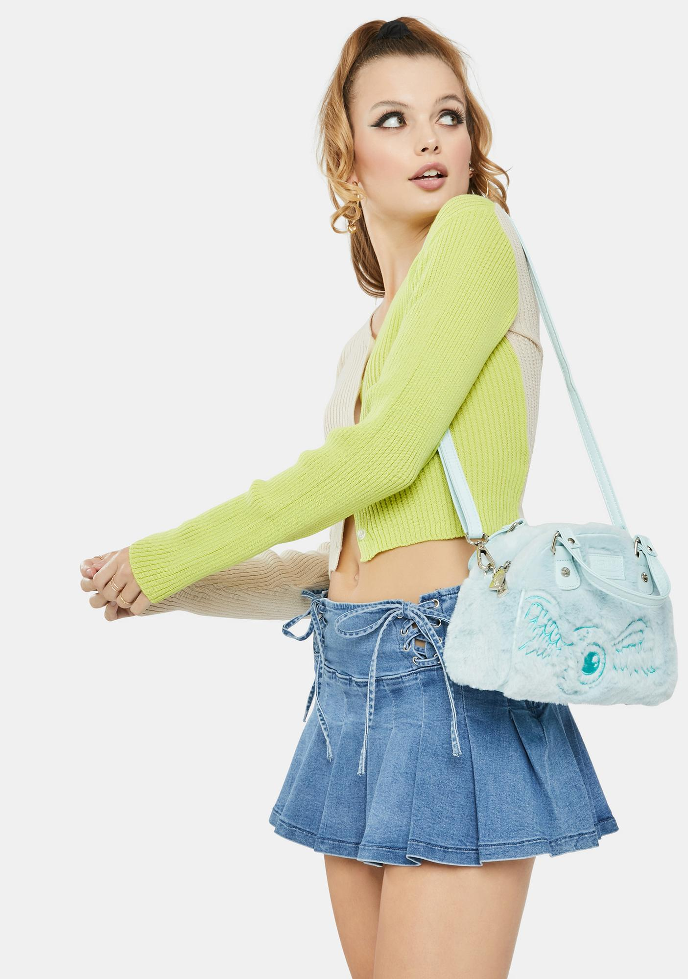 Daisy Street Lime 90's Split Color Cropped Cardigan